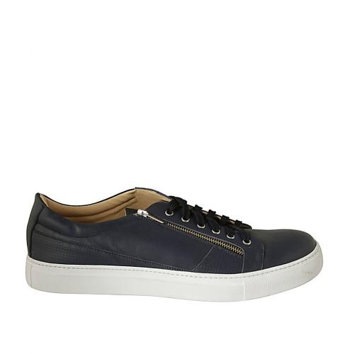Zapato para hombre con cordones y plantilla extraible en piel azul - Tallas disponibles:  47, 48