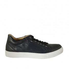 Zapato para hombre con cordones y plantilla extraible en piel y piel perforada azul - Tallas disponibles:  47, 48, 49, 50