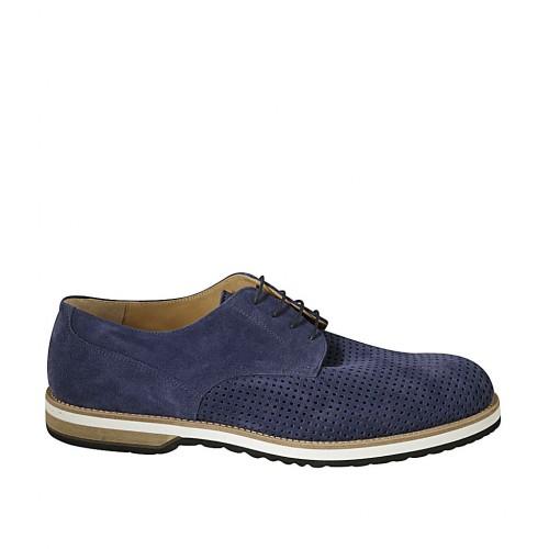Zapato con cordones para hombre en gamuza y gamuza perforada azul - Tallas disponibles:  48, 49