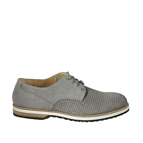 Laced men's derby shoe in grey suede and pierced suede - Available sizes:  47, 48, 49, 50