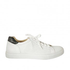 Man's laced shoe with removable insole in white and black leather and braided leather - Available sizes:  47, 48, 49, 50