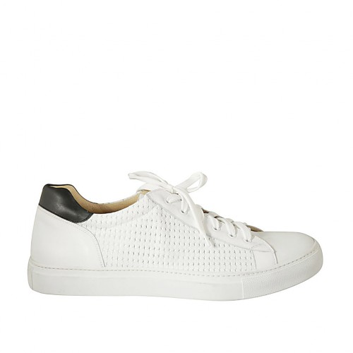 Man's laced shoe with removable insole in white and black leather and braided leather - Available sizes:  47, 48, 50