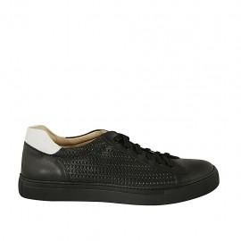 Zapato para hombre con cordones y plantilla extraible en piel y piel trensada negra y blanca - Tallas disponibles:  47, 48, 50