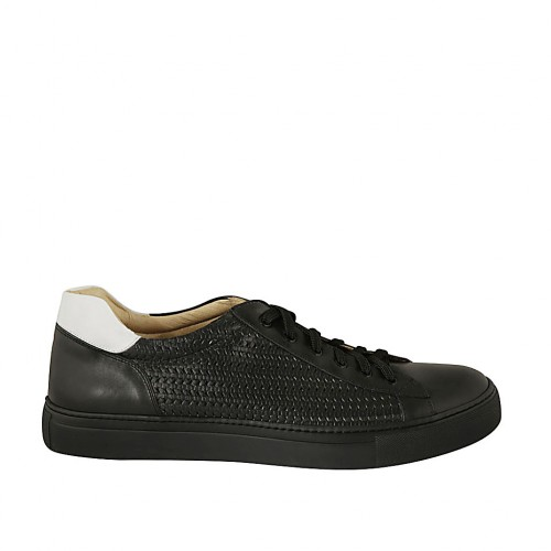 Man's laced shoe with removable insole in black and white leather and braided leather - Available sizes:  47, 48, 49, 50