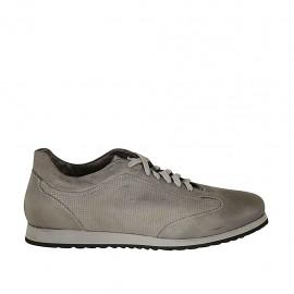 Zapato para hombre con cordones y plantilla extraible en piel y piel perforada gris - Tallas disponibles:  47, 48, 49, 50