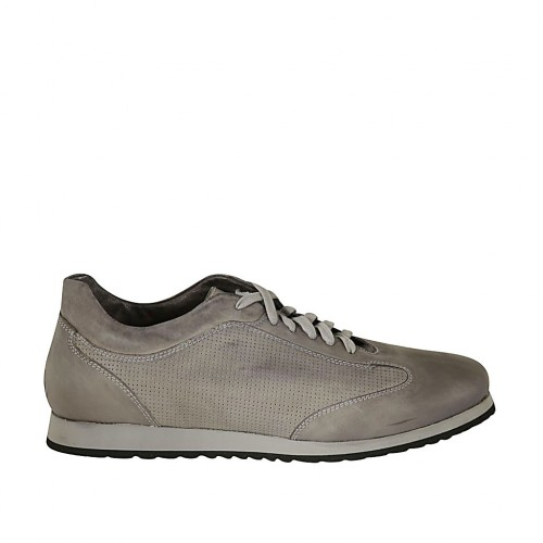 Man's laced shoe with removable insole in grey leather and pierced leather - Available sizes:  47, 48, 49, 50