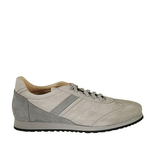 Zapato para hombre con cordones y plantilla extraible en piel y gamuza gris - Tallas disponibles:  47, 48, 49, 50