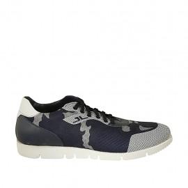 Chaussure sportif à lacets pour hommes avec semelle amovible en cuir bleu et blanc et tissu bleu et gris - Pointures disponibles:  46, 47, 48, 49, 50