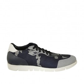 Men's laced casual shoe with removable insole in blue and white leather and blue and grey fabric - Available sizes:  46, 47, 48, 49, 50