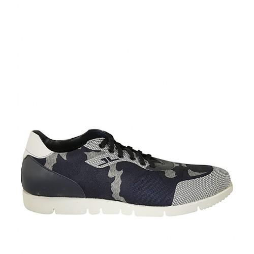 Zapato para hombre con cordones y plantilla extraible en piel blanca y azul y tejido azul y gris - Tallas disponibles:  46, 47, 48, 49, 50