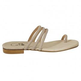 Damenzehenpantolette mit Nieten aus beigem Leder Absatz 1 - Verfügbare Größen:  33, 34, 42, 43, 44, 45
