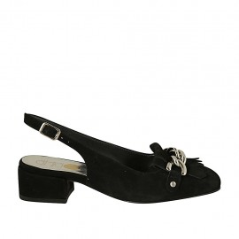 Woman's slingback pump with fringes and chain in black suede heel 3 - Available sizes:  32, 33, 34, 42, 43, 44, 45