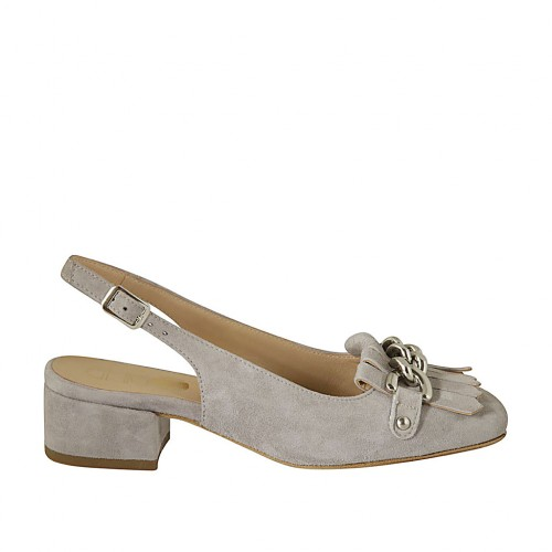 Woman's slingback pump with fringes and chain in grey suede heel 3 - Available sizes:  32, 33, 34, 42, 43, 44, 45