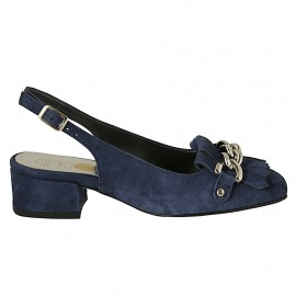 Woman's slingback pump with fringes and chain in blue suede heel 3 - Available sizes:  32, 33, 34, 42, 43, 44, 45