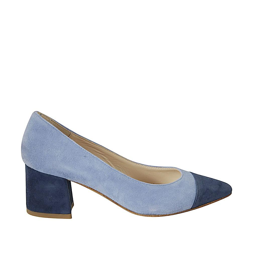 blue and light blue suede heel 5
