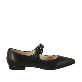 Woman's pointy ballerina with strap in black leather heel 1 - Available sizes:  42, 43, 44