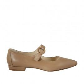 Ballerina a punta da donna con cinturino in pelle beige tacco 1 - Misure disponibili: 42, 43, 44