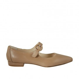 Woman's pointy ballerina with strap in beige leather heel 1 - Available sizes:  42, 43, 44, 45
