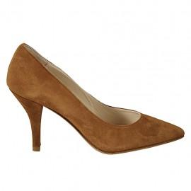 Zapato de salon puntiagudo en gamuza de color tabaco para mujer tacon 8 - Tallas disponibles:  32, 33, 34, 42, 43, 44, 45