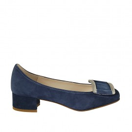 Zapato de salon para mujer con accesorio en gamuza azul tacon 3 - Tallas disponibles:  32, 33, 34, 42, 43, 45