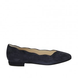 Woman's ballerina shoe in blue suede heel 1 - Available sizes:  33