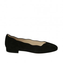 Woman's ballerina shoe in black suede heel 1 - Available sizes:  33, 43