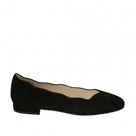 Zapato bailarina para mujer en gamuza negra tacon 1 - Tallas disponibles:  33, 43