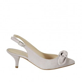Woman's slingback pump with bow in wisteria suede heel 5 - Available sizes:  32, 33, 34, 42, 43, 44, 45