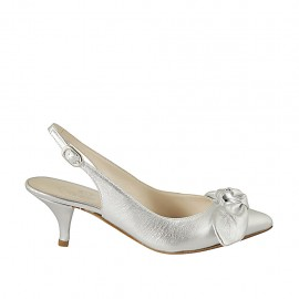 Woman's slingback pump with bow in laminated silver leather heel 5 - Available sizes:  32, 33, 34, 42, 43, 44, 45