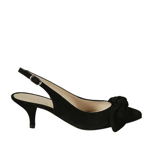 Woman's slingback pump with bow in black suede heel 5 - Available sizes:  32, 33, 34, 43, 44, 45