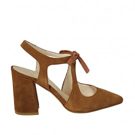 Woman's pointy slingback pump with laces in tobacco suede heel 8 - Available sizes:  32, 33, 34, 42, 43, 44, 45