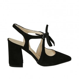 Woman's pointy slingback pump with laces in black suede heel 8 - Available sizes:  32, 33, 34, 42, 43, 44, 45