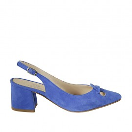 Woman's slingback pump with bow in blue suede heel 5 - Available sizes:  32, 33, 42, 43, 45