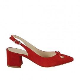 Zapato destalonado para mujer con moño en gamuza roja tacon 5 - Tallas disponibles:  32, 33, 42, 43, 44, 45