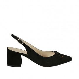 Zapato destalonado para mujer con moño en gamuza negra tacon 5 - Tallas disponibles:  32, 33, 42, 45