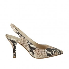 Woman's slingback pump in multicolored printed leather heel 8 - Available sizes:  32, 33, 42, 43, 44, 45