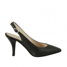 Woman's slingback pump in black leather heel 8 - Available sizes:  32, 33, 34, 42, 43, 44, 45