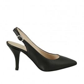 Zapato destalonado para mujer en piel negra tacon 8 - Tallas disponibles:  32, 34, 42, 43, 44