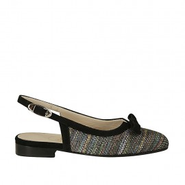Woman's slingback pump with bow in black suede and multicolored fabric heel 2 - Available sizes:  33, 34, 42, 43, 44, 45, 46