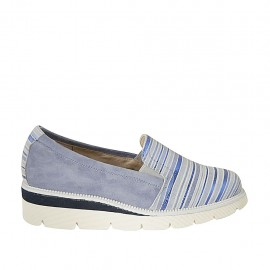 Woman's highfronted shoe with elastic bands in light blue suede and blue, light blue and white striped printed suede wedge 4 - Available sizes:  34, 42, 43, 44, 45
