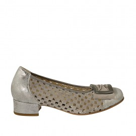 Woman's pump with accessory and removable insole in taupe pierced suede and silver laminated printed leather heel 3 - Available sizes:  32, 33, 34, 45