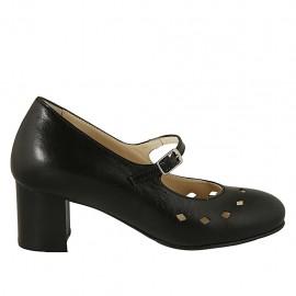 Zapato de salón para mujer con cinturon, plantilla extraible y agujeros en piel negra tacon 5 - Tallas disponibles:  32, 33, 34, 42, 43, 44, 45