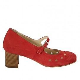 Zapato de salón para mujer con cinturon, plantilla extraible y agujeros en gamuza roja tacon 5 - Tallas disponibles:  32, 33, 34, 42, 43, 44, 45