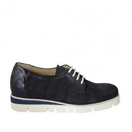 Zapato con cordones y plantilla extraible en piel laminada y gamuza perforada azul cuña 3 - Tallas disponibles:  33, 34, 42, 43, 44, 45