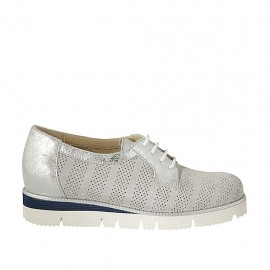 Zapato con cordones y plantilla extraible en piel laminada plateada y gamuza perforada gris cuña 3 - Tallas disponibles:  32, 33, 34, 42, 43, 44, 45