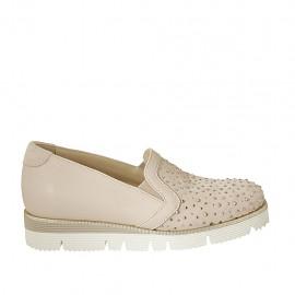 Zapato cerrado para mujer con elasticos y plantilla extraible en gamuza perforada y piel rosa cuña 3 - Tallas disponibles:  32, 33, 34, 43, 44, 45