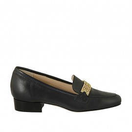 Woman's mocassin with accessory in blue leather heel 2 - Available sizes:  32, 33, 34, 42, 43, 44, 45