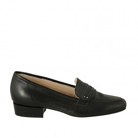 Woman's mocassin in black leather heel 2 - Available sizes:  33, 42, 43, 44, 45