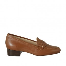 Woman's loafer in tan brown leather heel 2 - Available sizes:  33, 34, 42, 43, 44, 45