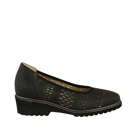 Woman's pump with removable insole in black pierced leather heel 4 - Available sizes:  31, 32, 33, 34, 43, 44, 45